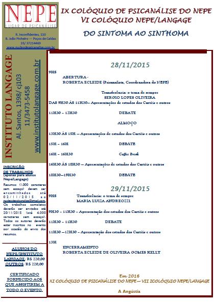 IX COLOQUIO NEPE LANGAGE 2015