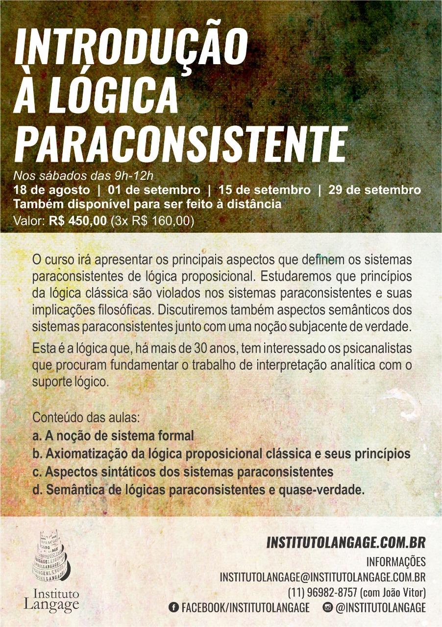 matrícula em 3x do curso introdução a lógica paraconsistente (são