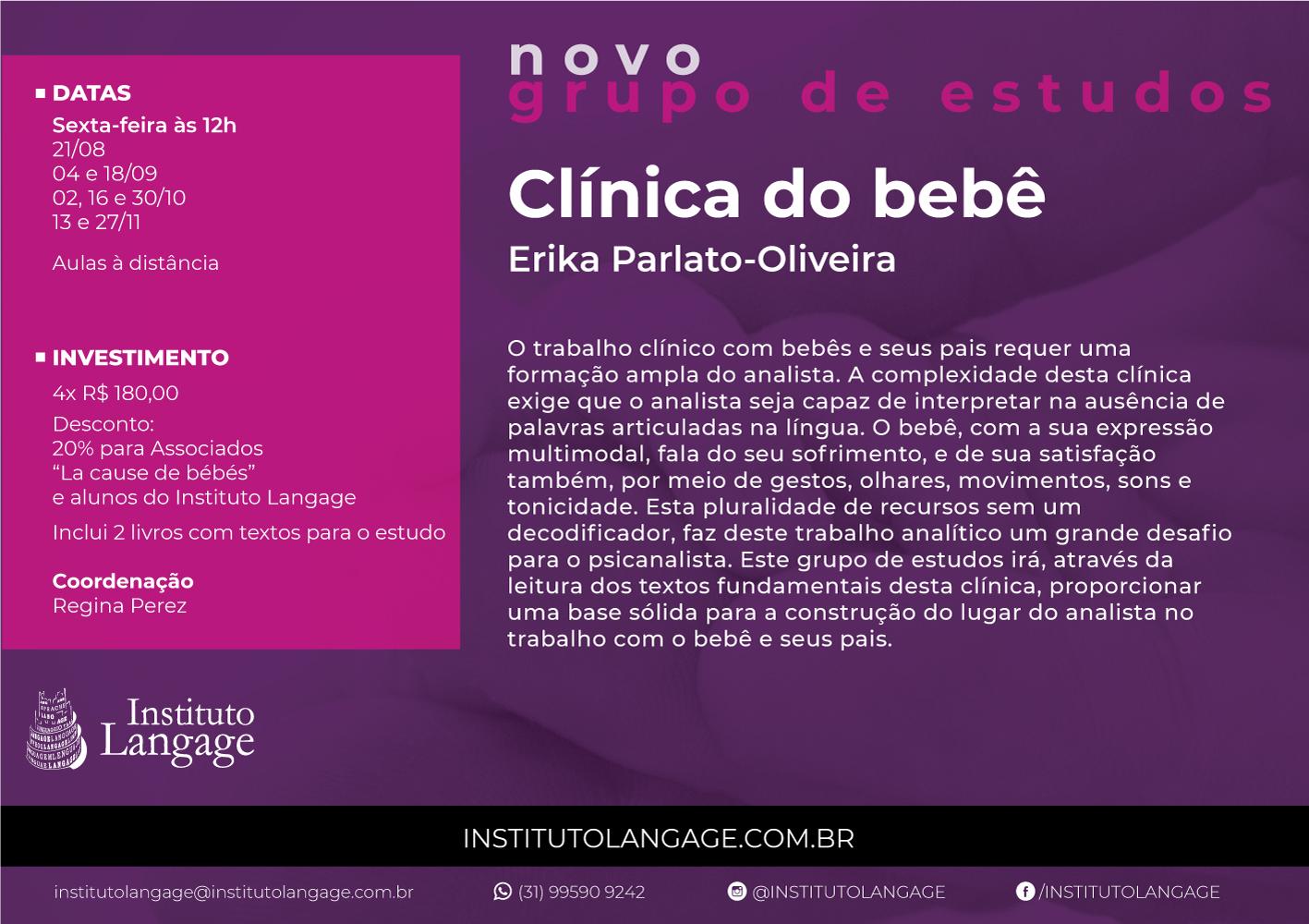 NOVO Grupo de Estudo (8) de Clínica de Bebês Turma sextas-feiras 12 horas - Inscrição (agosto a novembro/20)