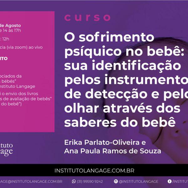 Curso O Sofrimento Psíquico do Bebê: sua identificação pelos instrumentos de detecção e pelo olhar através dos saberes do bebê (Agosto/2020)