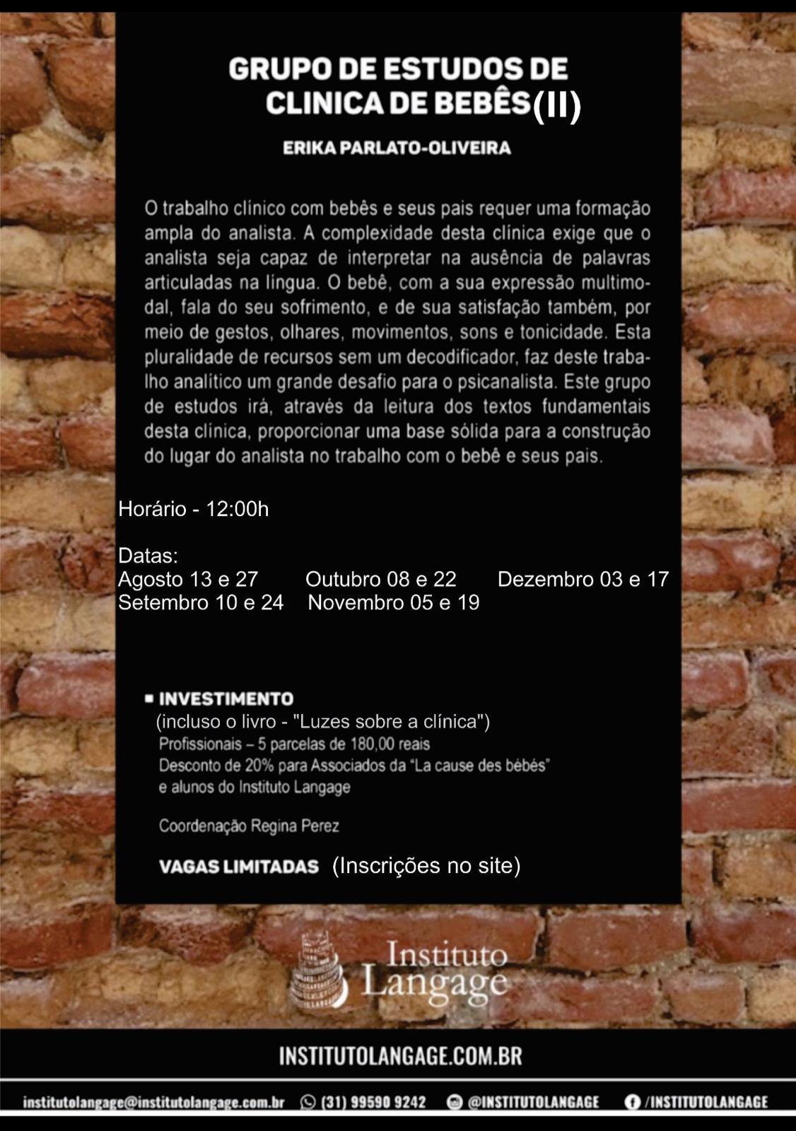 Grupo de Estudo (1) de Clínica de Bebês Turma quinta-feira 12 horas - inscrição (agosto a dezembro/20)