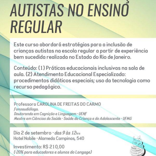 Matrícula em 3 x do Curso: Inclusão de crianças autistas no ensino regular (São Paulo – Setembro/2017)