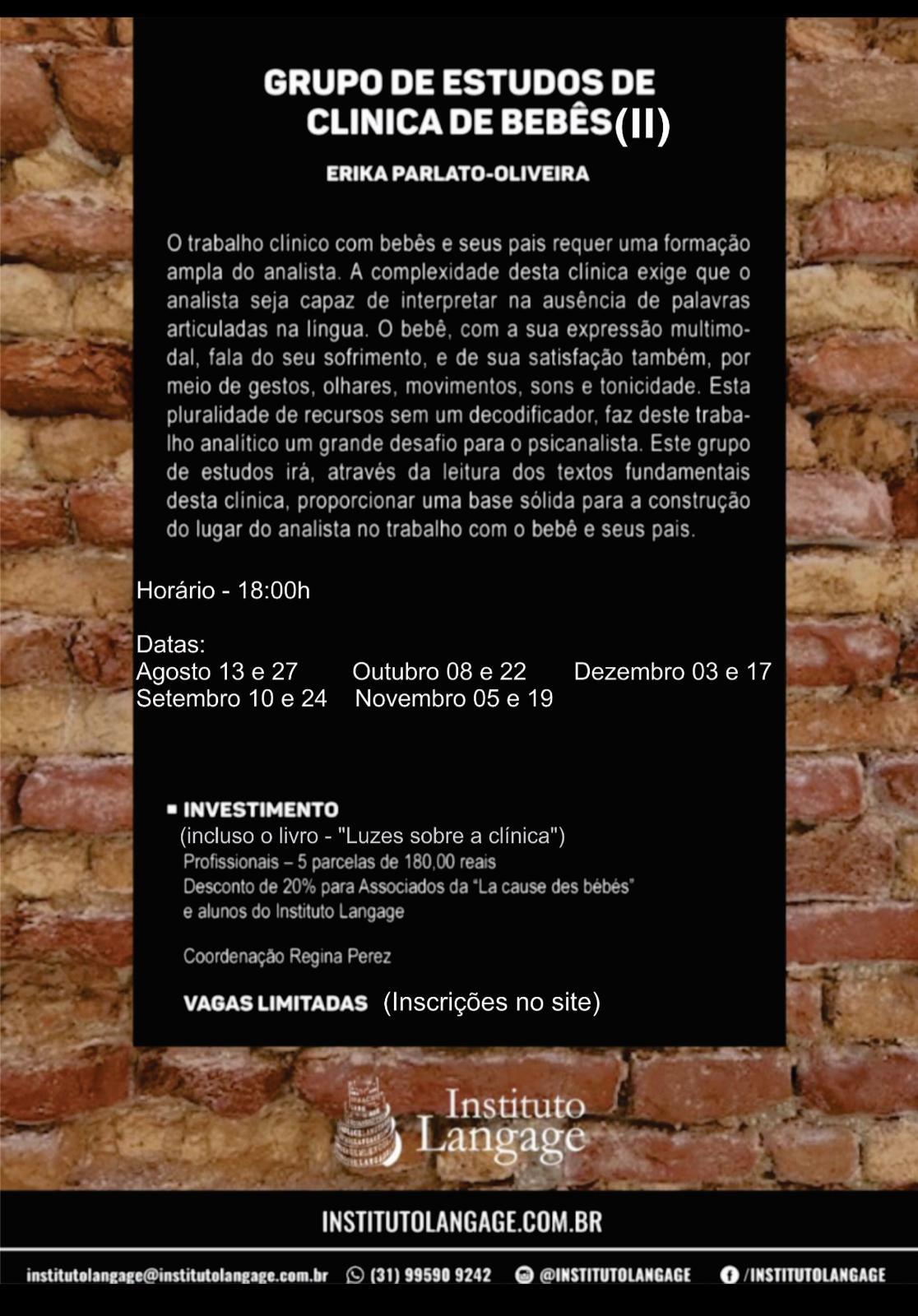 Grupo de Estudo (2) de Clínica de Bebês Turma quinta-feira 18 horas - inscrição (agosto a dezembro/20)
