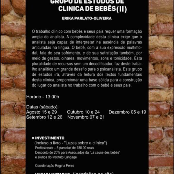 Grupo de Estudo (7) de Clínica de Bebês Turma sábado 13 horas - Inscrição (agosto a dezembro/20)